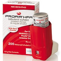 PROAIR HFA (albuterol) 90mcg/inh metered-dose aerosol with dose counter, CFC-free.