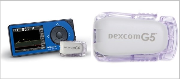 The Dexcom G4 Platinum Receiver (L) and the Dexcom G5 Mobile Receiver (R)