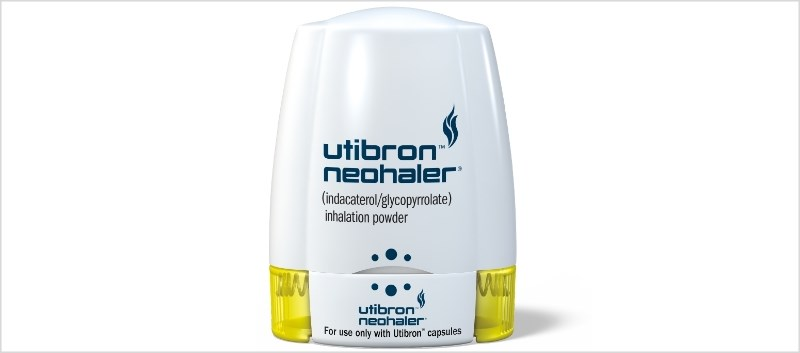 Utibron Neohaler combines indacaterol, a long-acting beta agonist, and glycopyrrolate, a long-acting muscarinic antagonist