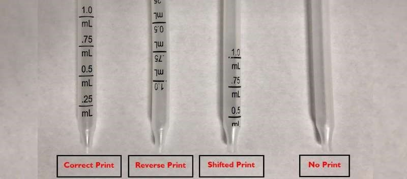 Dosing droppers were misprinted with the dose markings in reverse number, shifted dose markings or no dose markings