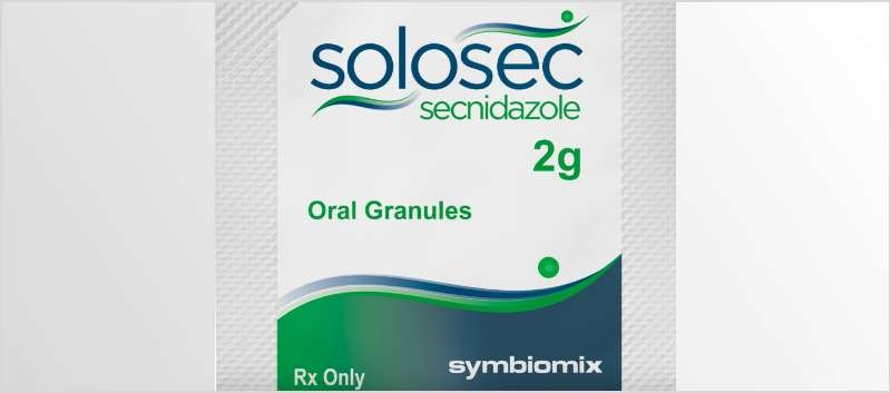 Solosec, a nitroimidazole antimicrobial drug, is supplied as oral granules in single 2-gram packets