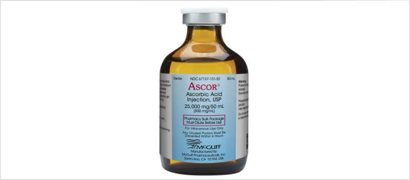 Ascor is supplied in a 50mL pharmacy bulk package