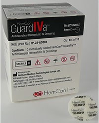 GUARDIVA (chlorhexidine gluconate) antimicrobial hemostatic IV dressing by HemCon