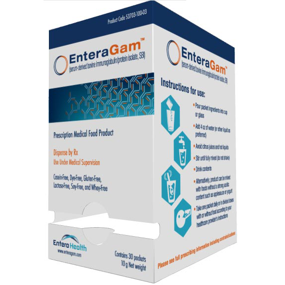 ENTERAGAM (serum-derived bovine immunoglobulin/protein isolate)