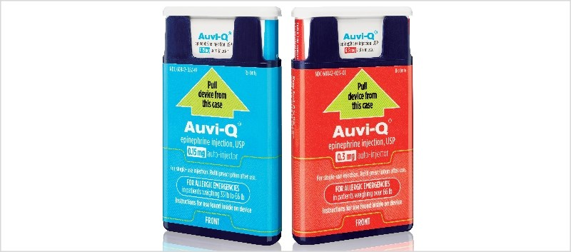 AUVI-Q contains epinephrine which acts on both alpha and beta-adrenergic receptors