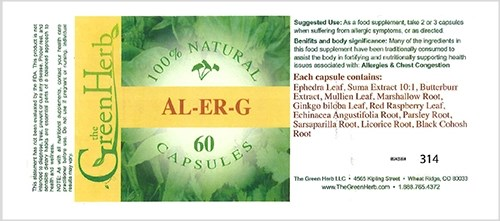 Al-Er-G was marketed as a supplement for the relief of allergies