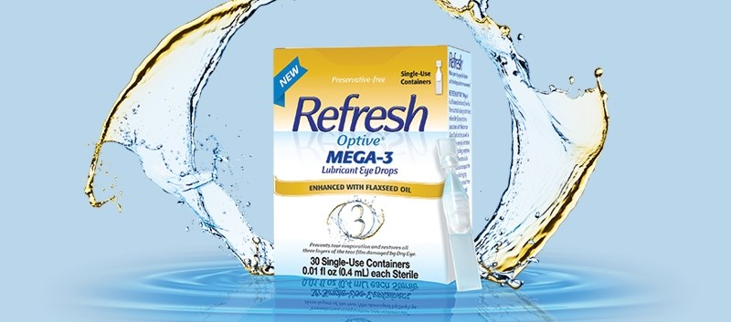 Mega-3 contains flaxseed and castor oil, which work to strengthen the lipid layer and protect tears from evaporating
