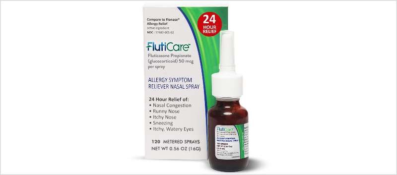 FlutiCare is a nasal spray which provides 50 micrograms of fluticasone propionate
