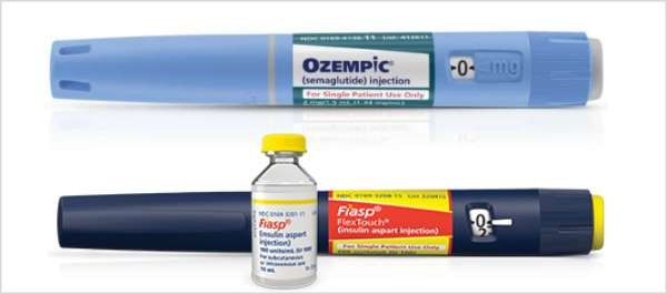 Ozempic is a once-weekly glucagon-like peptide receptor agonist, and Fiasp is a fast-acting insulin aspart injection.